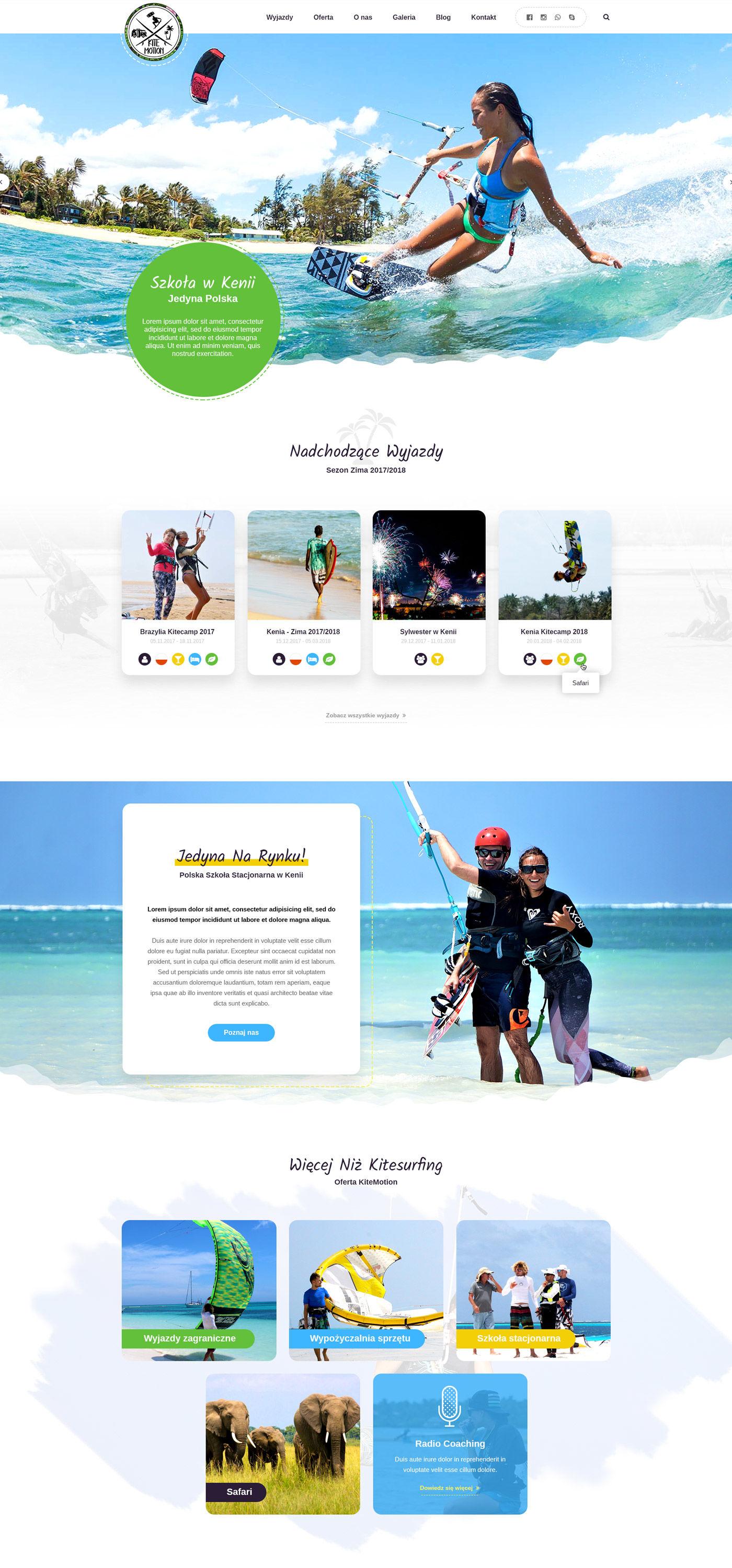 Projekt strony głównej KiteMotion