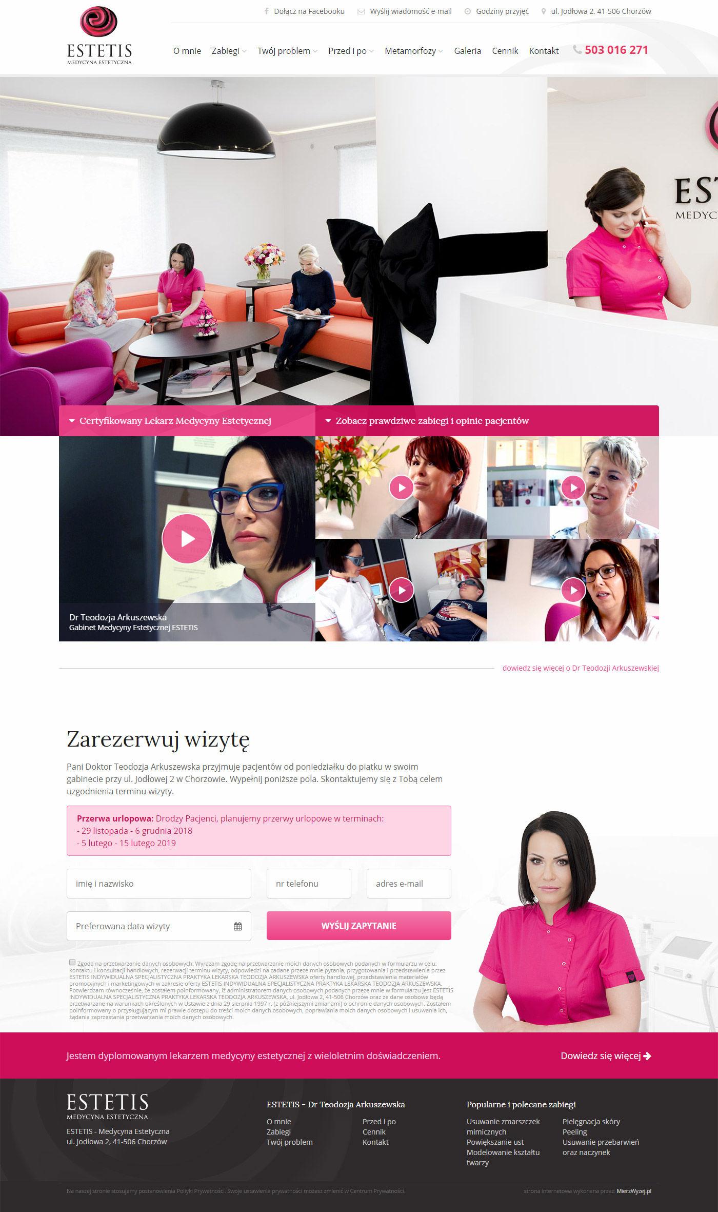 Projekt strony Estetis.pl
